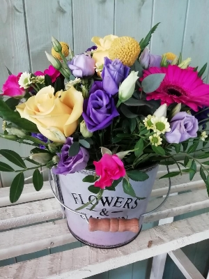 Beautiful bucket of flowers