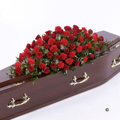 Rose and Carnation Casket Spray   Red *