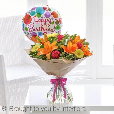 Happy Birthday Summer Sunshine Handtied with Happy Birthday Balloon
