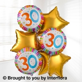 30th Birhday Helium Balloon Bouquet