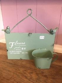 Vintage style sign and mini plant holder